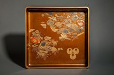 Nashiji Lacquer Trays for storing robes with triple ginger mon (crest) and shell design.  Comes in original box. 19th century