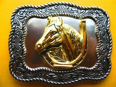 Western Rodeo Rider Cowboy Horse Horseshoe Belt Buckles