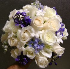 white roses accompanied by blue delphinium