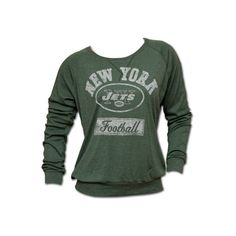 NFL Football New York Jets Green Womens Pullover (96 BRL) ❤ liked on Polyvore featuring tops, sweaters, shirts, long sleeves, pullover sweater, long sleeve tops, green pullover sweater, nfl sweaters and long sleeve pullover shirts