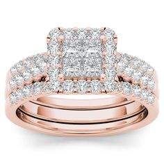 Crafted in rose gold, it features a quartet of princess-cut diamonds set in an invisible setting which is wrapped by a frame of smaller round diamonds set atop a diamond-lined shank. Two pave-set bands are in perfect harmony with the ring.