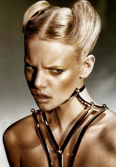 Marloes Horst | gold | golden | model | scowl | frown | fashion editorial | www.republicofyou.com.au