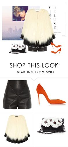 """Fluffy."" by champaige ❤ liked on Polyvore featuring Balenciaga, Christian Louboutin, Unreal Fur and Nancy Gonzalez"