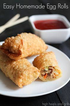 Easy Homemade Egg Rolls that taste just like restaurant quality! http://www.highheelsandgrills.com/2014/02/easy-homemade-egg-rolls.html
