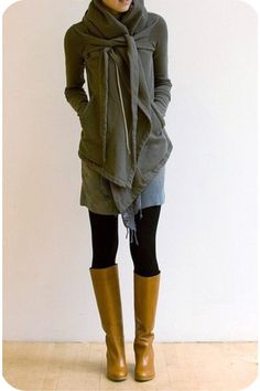 a cozy look to match the rain :: mustard boots + hooded gray sweatshirt :: [rick owens / totokaelo]