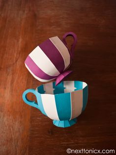 Paper Tea Cups -- free template | from next to nicx (With a version that has a lid to make a gift box as well).