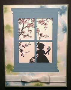 Stampin Up Easter Blossoms Card but with different DSP on background