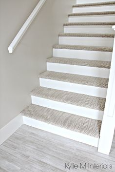 Stairs with carpet herringbone treads and painted white risers, looks like a runner. Benjamin Moore Edgecomb Gray on stairwell wall. Kylie M Interiors E-Design Stairs with carpet herringbone treads and painted white risers, looks like a run. Stairwell Wall, Tile Stairs, House Stairs, Basement Stairs, Hallway Paint, Wood Stairs, Open Stairs, Basement Kitchen, Attic Stairs