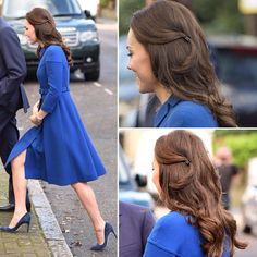 A good hair day! Duchess Kate's 1st event at age 35! Looking elegant in a £1,650 belted blue coat by @eponinelondon as she arrived at the Anna Freud National Centre for Children and Families in North London, teamed with her trusty navy pumps by @rupertsanderson pics via @DailyMailUK 01.11.17