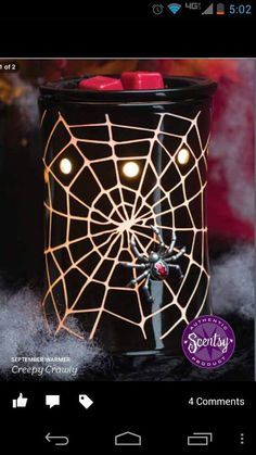"""Sept 2013 Warmer of the Month """"Creepy Crawly"""" ~ Light shines through the web lines and there is a 3D spider on it. Order on my website beginning September 1 and get 10% off all month. https://spollreisz.scentsy.us (Canadian's can order by simply changing the US flag to Canadian flag up in the top right hand corner)"""