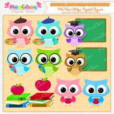 School Time Owls Clipart Set - For Commercial and Personal Use by MonChouClipartStore on Etsy https://www.etsy.com/uk/listing/200560550/school-time-owls-clipart-set-for