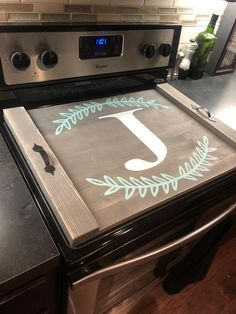 Stove top cover, custom wooden stove cover, tiffany teal and white