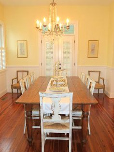 french country dining room white chairs. love the chandelier