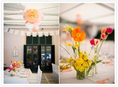 tissue paper pom poms, paper garlands and wild flower centerpieces via 100 layer cake