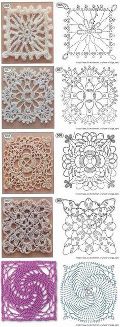 Crochet granny square free pattern ganchillo 65 ideas for 2019 Point Granny Au Crochet, Granny Square Crochet Pattern, Crochet Diagram, Crochet Squares, Granny Squares, Flower Granny Square, Lace Doilies, Crochet Doilies, Crochet Flowers