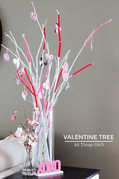 Looking for a fun and unique Valentine's Day decoration? Create a DIY Valentine Tree and put your love on display! Valentine Tree, Little Valentine, Valentine Day Crafts, Valentines Day Decorations, Thanksgiving Decorations, Halloween Decorations, Create A Family Tree, Thankful Tree, Holiday Fun