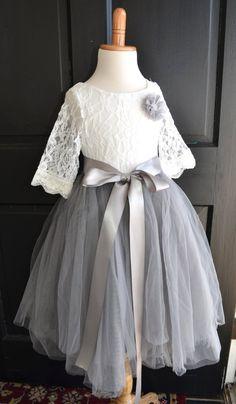 Flower girl Tutu dress, Girls Dove Grey Long Tulle Skirt lace blouse, Gray Tutu, Skirt blouse set, Flower girl dress, Mercury