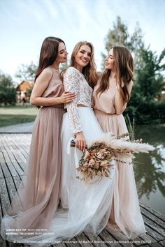 Nude/Taupe Bridesmaids Separates: Silk Classic Cami Top and Waterfall Floor Length Tulle Skirt, available in Plus Size by StylishBrideAccs on Etsy Taupe Bridesmaid, Bridesmaid Separates, Fall Bridesmaid Dresses, Bridal Separates, Bridal Dresses, Party Dresses, Wedding Dress Arms, Wedding Attire, Wedding Pics