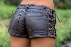 Black leather side laced short shorts