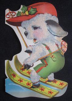 Vintage Christmas Greeting Card Skiing Lamb Flocked Mid Century