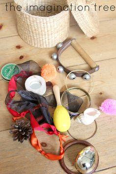 The Imagination Tree: Travel Size Baby Treasure Basket! Montessori Toddler, Montessori Activities, Infant Activities, Montessori Bedroom, Baby Sensory Play, Baby Play, Baby Treasure Basket, Heuristic Play, Music For Toddlers