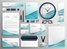 Big set of professional brand identity business stationery Free Vector Business Cards Layout, Free Business Card Templates, Business Brochure, Business Card Logo, Creative Brochure, Brochure Design, Corporate Identity Design, Brand Identity, Design Logo