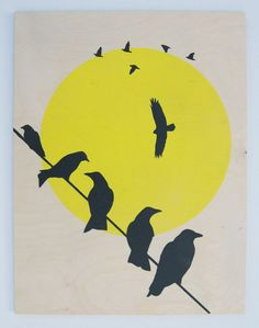 Large Stencil Art of Crows on a Wire Block Colours by Stencilize