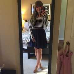 Modern Vintage Boutique Dress Black and White Stripes and navy bottom dress with belt.  Super cute, fun happy hour dress!worn one time! Double Zenr Dresses Mini