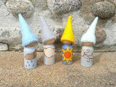 Weather Gnomes - Waldorf  - Peg People - Steiner, Educational Toy, Homeschooling