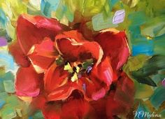 Artists Of Texas Contemporary Paintings and Art - Ragdoll Red Tulip and the Dallas Blooms Festival by Texas Flower Artist Nancy Medina