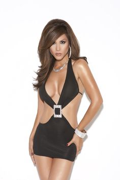 Deep V mini dress with rhinestone buckle.