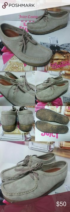 Clarks Wallabee Leather shoes sz.9.5/9 Clarks Wallabee Leather shoes sz.9.5 I wear a size 9 and they fit me fine...but my foot is a wider. Very good used condition  Crepe sole looks dirty but that's how they look when worn a few times. Clarks Shoes Flats & Loafers