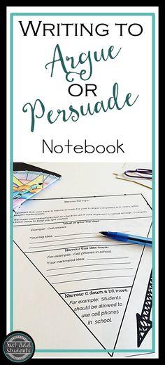 Organize research for argument and persuasive writing projects with this ready-to-use writer's notebook. Step-by-step. Great for writer's workshop and assessments.
