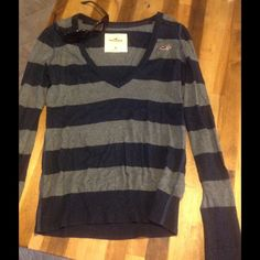 Hollister blue and gray V neck sweater  Hollister blue and gray V neck sweater: very cute with button up Hollister Tops Blouses