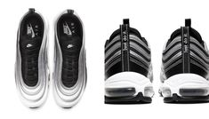 The new Air Max 97 is reflective, retro and futuristic. Find out when and where you can shop the statement style. Air Max 97, Nike Air Max, Air Max Sneakers, Adidas Sneakers, Black Tongue, Fade To Black, Jd Sports, Sneaker Brands, Reebok