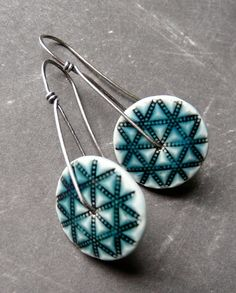 Porcelain Earrings  Quilted Star Longs in Antique by RoundRabbit, $38.00