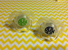 Set of 2 Monogrammed Pacifiers on Etsy, $9.00