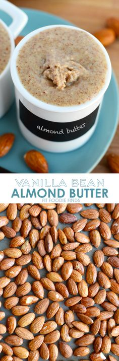 Make your own vanilla bean almond butter with just a few whole ingredients and a food processor. No additives involved or refined sugars! by becky Homemade Nut Butter Recipes, Clean Eating Recipes, Cooking Recipes, Healthy Snacks, Healthy Eating, Diy Snacks, Healthy Recipes, A Food, Food And Drink