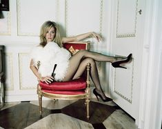 Gillian Anderson in sheer black pantyhose