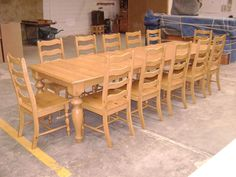 Pine Dining Table And Ladder Back Chairs