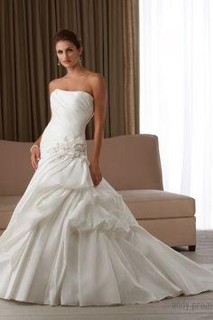 Taffeta Chapel Train A-line Glamorous Dropped Wedding Dress