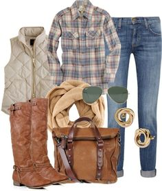 Great fall outfit - flannel, casual vest, skinnies, brown boots, scarf... Loooooove this outfit!!!!! by Maiden11976