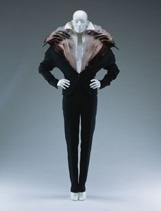 Jacket and pants, VIKTOR & ROLF, black figured wool; layered with colored cotton. Museum Studies, Black Figure, Collar Designs, Costume Institute, Viktor Rolf, 2000s Fashion, Fabric Art, Fall Winter, Autumn