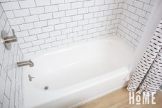 After painting an almond bathtub with white tub and tile refinishing kit Tile Walk In Shower, Bathtub Shower Combo, Diy Bathtub, Clean Bathtub, Bathtub Cleaning, Shower Tiles, Tub Paint, Painting Bathtub, Tub Refinishing