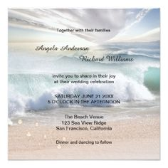 Painted pastel destination or ocean/beach wedding invitation with sparkling waves and tiny pearls of wisdom