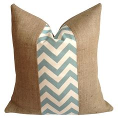 Burlap pillow with a chevron cotton stripe and down fill. Made in the USA.  Product: PillowConstruction Material:
