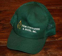New FARM FERTILIZERS   SEEDS Corn soybean Farmer SNAPBACK CAP green Hat- trucker New Farm 498ade2a9041