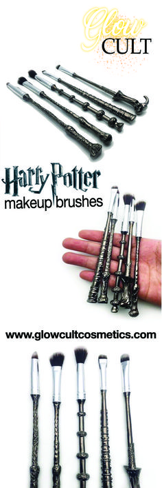Harry potter makeup brush set! Pretty, colorful and cruelty free makeup brushes ✨ get them at glowcultcosmetics.com #makeup #beauty #contour #lashes #lips #matte #inspo #home #look #harry potter