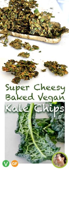 Super cheesy, oven baked, vegan kale chips are tangy, healthy vegan and gluten free alternative to potato chips. Kale Chips Oven, Roasted Kale Chips, Potato Chips, Recipes With Yeast, Nutritional Yeast Recipes, Kale Chip Recipes, Vegan Recipes, Healthy Foods To Eat, Healthy Snacks