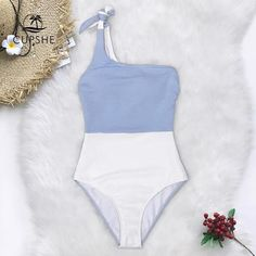 Cupshe Blue And White Colorblock One Shoulder Einteiliger Badeanzug Damen Tied Bow Monokini, One Piece Swimsuit For Teens, One Piece Swimsuit Slimming, Swimsuits For Teens, Modest Swimsuits, Cute Swimsuits, Women Swimsuits, Revealing Swimsuits, Neon Bikinis, Bleu Pastel
